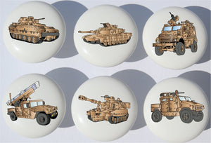 Presto Armored Trucks and Tanks Drawer Pulls/Ceramic Drawer Knobs with Tanks, and Military Vehicles, 6 Set