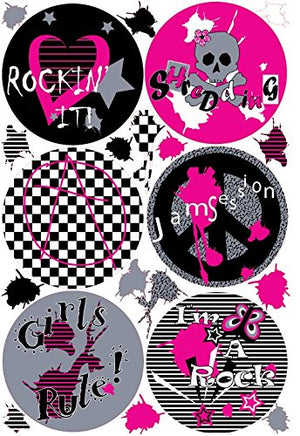 Girls Rule Pink Polka Dot Wall Decals / Rock N Roll Wall Stickers with Paint Splat Wall Decals