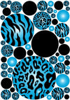 Meduim Dots Blue 3d Zebra and Leopard Print Wall Stickers
