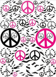 Hot Pink Black and Zebra Print Peace Sign Wall Stickers Decals