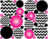 Hot Pink Radial and Black Chevron Polka Dots Wall Decals Stickers