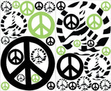 Green Zebra Print Peace Sign Wall Stickers / Decals Mini