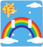 Rainbow Light Switch Plate with Sun, and Clouds/Double Toggle Rainbow Switch Plate Wall Decor