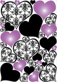 Purple and Damask Heart Wall Decals / Stickers