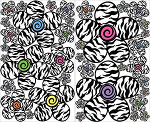 Multicolored Zebra Print Flower Wall Stickers Decals