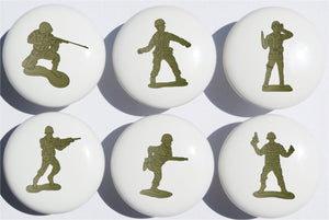 Toy Soldier Drawer Pulls / Army Men Furniture Ceramic Cabinet Knobs / Set of 6