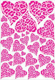 Pink Leopard Cheetah Print Hearts Wall Stickers Decals