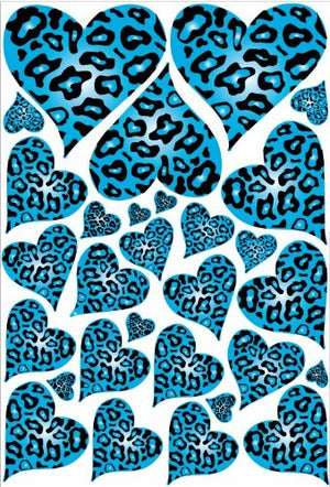 Blue Leopard Cheetah Print Hearts Wall Stickers Decals