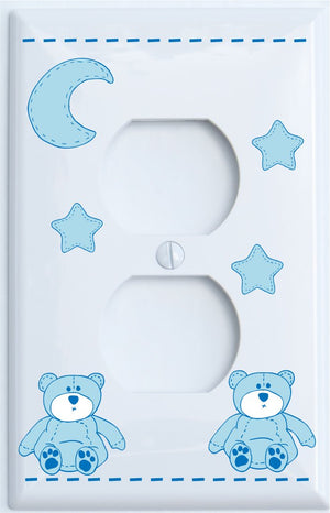 Blue Teddy Bear Light Switch Plate and Outlet Covers with Blue Moon and Stars / Teddy Bear Nursery Decor