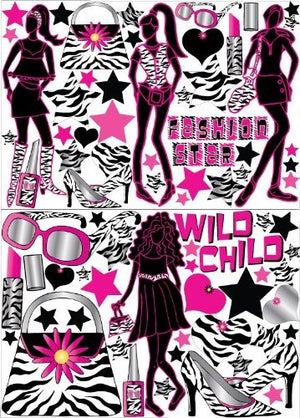 Zebra Print Fashion Model Wall Decals / Stickers set