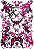 22 Hot Pink and Black Whimsical Butterfly Wall Stickers / Decals