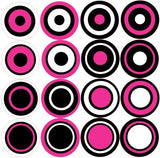 Multi Dots Decals Hot Pink, White and Black