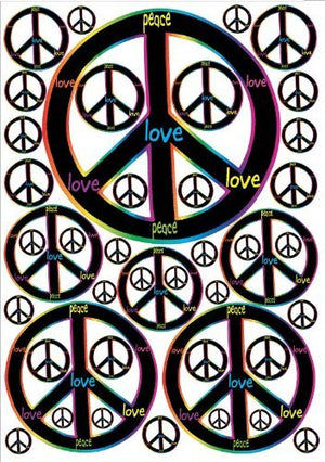 Rainbow and Black Peace Sign Wall Decals