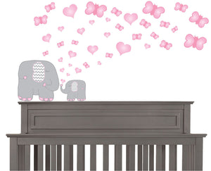 Pink Butterflies and Hearts and Grey Elephant Wall Decals Stickers/Elephants Nursery Wall Decor