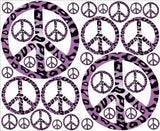 Purple Leopard Print Peace Sign Wall Decals Stickers Decor