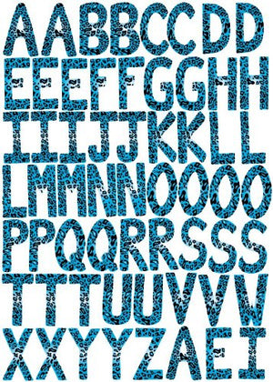 60 ABC Alphabet Wall Decals-Leopard-3.25in. letters-Blue-Turqouise-Wall-Stickers-Decals