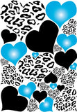 Black and White Leopard Print Hearts with Blue Radial Hearts Wall Stickers / Decals