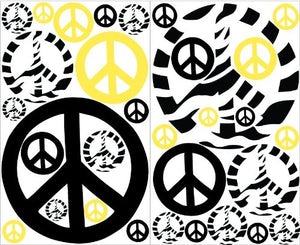 Yellow Zebra Print Peace Sign Wall Stickers / Decals Mini