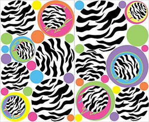 Multicolored Zebra Print Dot Wall Decals, 37 Zebra Circle / Dots Wall Stickers / Childrens Wall Decor
