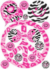 Sixties Theme Pink Peace Sign Wall Decals in Leopard, Cheetah, and Zebra Print Wall Decals / Stickers