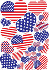 USA Patriotic American Flag Heart Wall Stickers /29 Heart Wall Decals