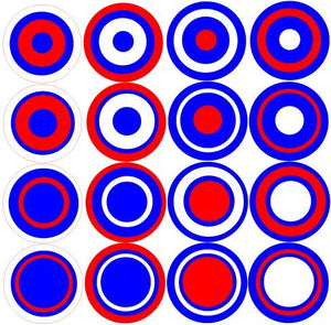 Multi Dots Red, White and Blue Wall Decals Stickers