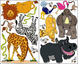 Jungle Safari Wall Stickers/Wild African Animal Wall Decals Decor