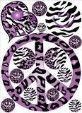 Sixties Theme Purple Leopard / Cheetah and Zebra Print Peace Sign Wall Decals / Peace Stickers