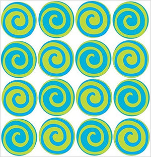 Presto Swirly Turquoise Blue and Lime Green Polka Dot Wall Stickers Decals