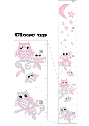 Pink and Grey Owl Growth Chart Wall Art with Chevrons, Moon and Stars Woodland Forest Animals Nursery Wall Decals