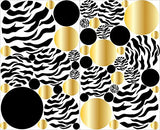 Zebra Print Dot Wall Decals with Gold and Black Polka Dot Wall Stickers