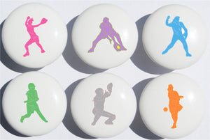 Girls Softball Drawer Pulls  Ceramic Drawer Knobs  Set of 6