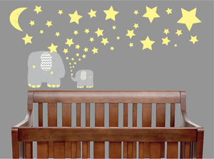 Yellow and Grey Elephant Wall Decals/Elephants Nursery Wall Stickers with Yellow Stars and Moon Wall Decals