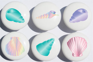 Sea Shell Drawer Pulls/Seashell Beach Decor Ceramic Cabinet Drawer Knobs/Set of 6