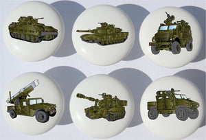 Armored Trucks and Tanks Drawer Pulls / Ceramic Drawer Knobs with Tanks, and Military Vehicles , 6 Set (Green)