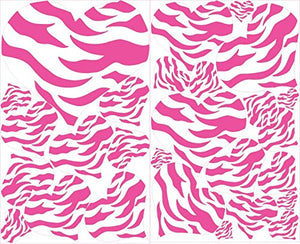 All Hot Pink Zebra Print Heart Wall Decals / 27 total Heart Wall Stickers