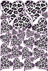 White with Purple Leopard Print Heart Wall Decals / Stickers