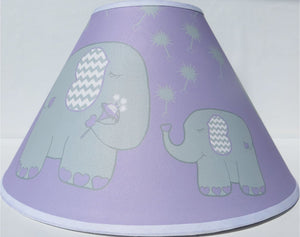 Purple Elephant Lamp Shade with Dandelions/Elephant Nursery Decor