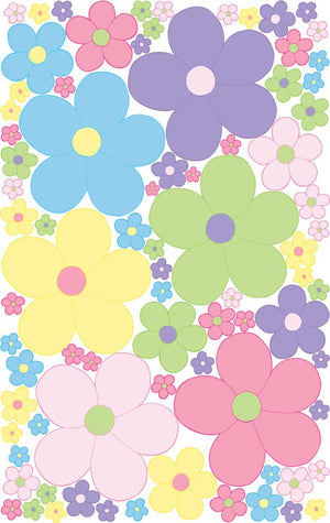 Large Pastel Daisy Flowers Wall Decals / Flower Wall Decor