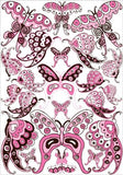 22 Pink and Brown Whimsical Butterfly Wall Stickers / Decals