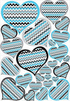 Chevron Heart Wall Decals / Heart Wall Stickers in Blue, Dark Gray, Light Gray, and Black