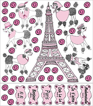 Poodles in Paris Wall Decals Stickers/Eiffel Tower Paris Wall Decor