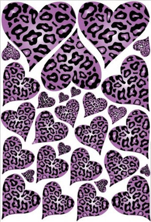 Purple Leopard Cheetah Print Hearts Wall Stickers Decals