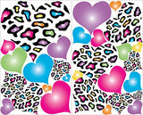 Multicolored Leopard Print Heart Wall Decals / 29 Heart Wall Stickers