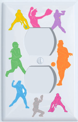 Girls Softball Light Switch Plate and Outlet Covers / Softball Room Decor