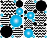 Blue and Black Chevron Polka Dots Wall Decals Stickers