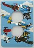 Vintage Airplane Light Switch Plate and Outlet Covers / Airplane Nursery Wall Decor