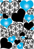 Blue Damask Print Heart Wall Decals / Stickers