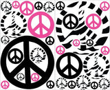 Pink Zebra Print Peace Sign Wall Stickers / Peace Sign Wall Decals Mini