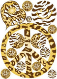 Sixties Theme Peace Sign Brown and Gold Leopard, Cheetah and Zebra Print Wall Stickers Decals